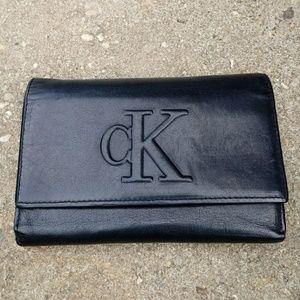 Calvin Klein Tri-fold Black Leather Wallet